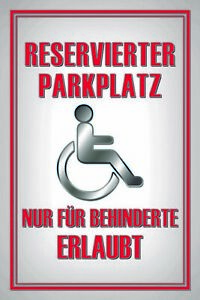 Reservierter-Parking-Personnes-Handicapees-Panneau-Metallique-Plaque-en-Etain