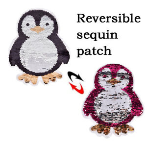 penguin-Reversible-Sequins-Sew-On-Patches-cloth-DIY-Applique-Bags-Clothing-FO
