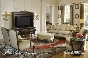 Imperial Court Luxury Wood Trim Sofa Settee Living Room Set Michael Ami