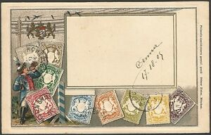 Stamps-of-BAYERN-GERMANY-embossed-postcard-by-Ottomar-Zieher-used-1905