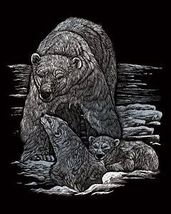 Kratzbild Kratzbilder Bär Eisbär mit Baby Silber Größe 20cm x 25 cm Komplett