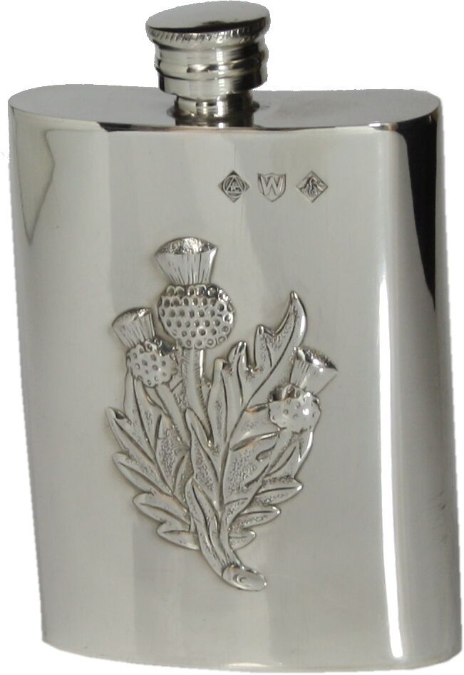 3oz ENGLISH PEWTER HIP FLASK w THISTLE HANDMADE by PINDER BROS SHEFFIELD  NEW