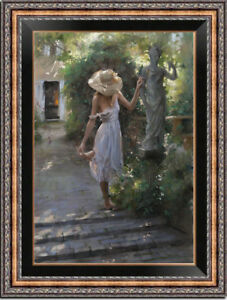 """Hand-painted Original Oil Painting art Impressionism girl on canvas 24x36"""""""