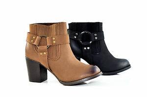 Therapy-Shoes-Harlow-High-Block-Heel-Ankle-Biker-Boots-Tan-SIZE-5-6-8