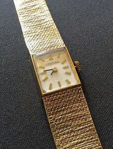 Superb-Ladies-Vintage-Heavy-Solid-All-Gold-Beautiful-9ct-Certina-Wristwatch