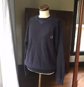 Vintage-1990-039-s-TOMMY-HILFIGER-Navy-Blue-Sweater-MEDIUM