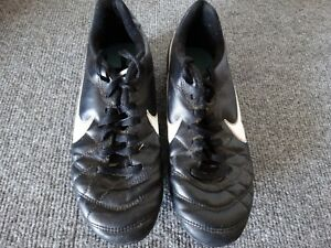 Nike JR Tiempo Genio Leather FG Youth Soccer Cleats Black / White US:4.5Y