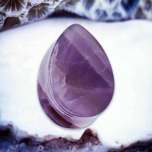NATURALS Amethyst Ear Plugs Purple Ear Tunnels Teardrop Stone Simple Ear Gauge