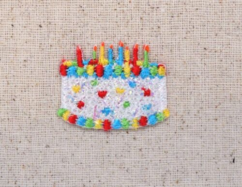 SMALL White Birthday Cake Confetti//Shimmery Iron on Applique//Embroidered Patch
