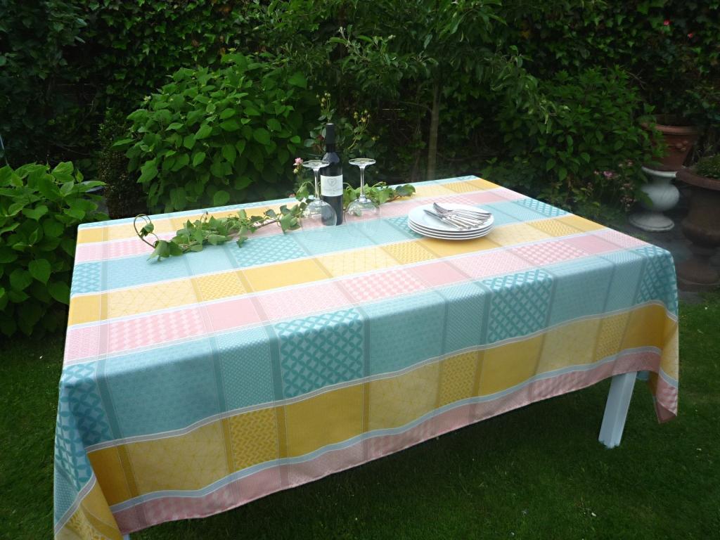 autorizzazione TOVAGLIA JACQUARD 180x250 cm GIALLO verde verde verde rosa dalla Francia con protezione in teflon  al prezzo più basso