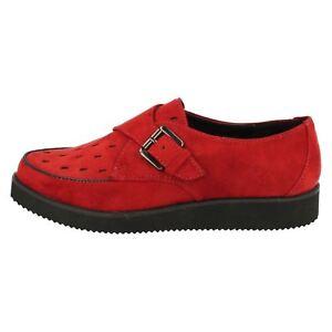 Details zu Spot On F9R567 Damen Rote Schuhe aus Kunstwildleder UK 3 bis 7 (R14A)
