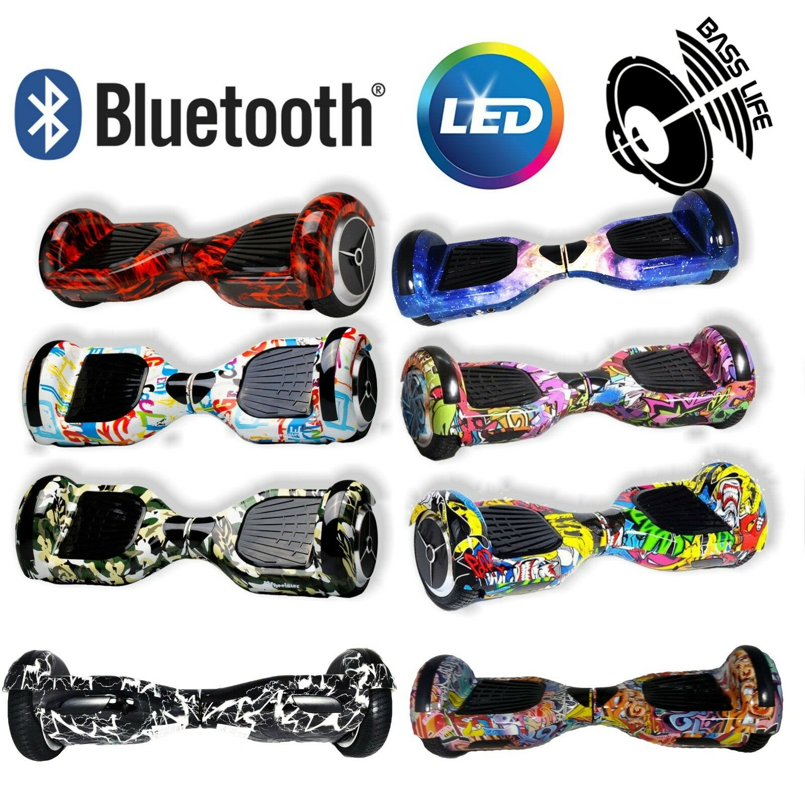 HOVERBOARD ELETTRICO 6,5 POLLICI bluTOOTH E LED SMART BALANCE OVERBOARD