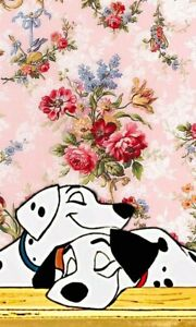 101-Dalmations-with-Flowers-Collage-6x10-Quilters-and-Craft-Fabric-Block