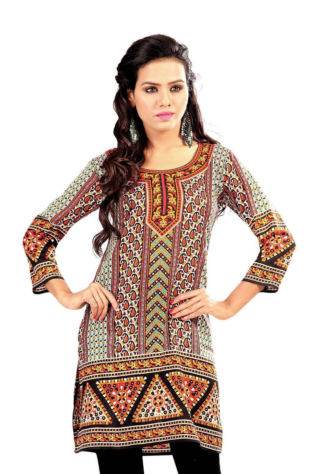 Paisley 3/4 sleeve Indian Printed Kurti Tunic Women Kurta