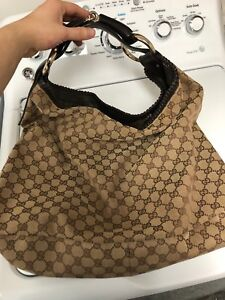 a436b9a47d0 Image is loading Vintage-Gucci-GG-Guccissima-Horsebit-Hobo-bag-w-