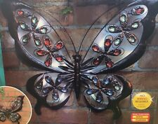 LARGE Vintage Bronze Metal Jewelled Butterfly Garden Wall Art Solar Lights NEW