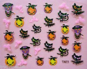 Halloween-Nail-Art-Stickers-Decals-Neon-Glitter-Pumpkins-Cats-Gel-Polish-03