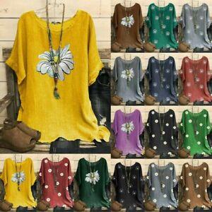 Womens Vintage Cotton-Blend Blouse O-Neck Short Sleeve Floral Print Top T-shirt