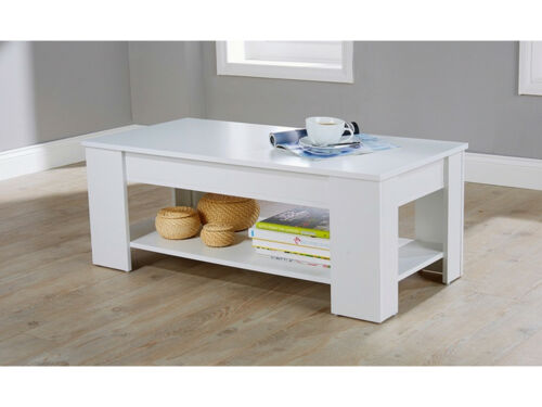 New Caspian White Lift Up Top Coffee Table with Storage /& Shelf