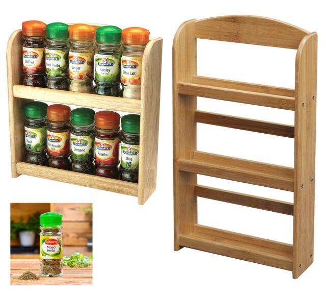 Spice Rack 3 Tier Herb Jar Storage Cupboard Kitchen Wall Mounted Wooden Stand Uk Spice Jars Racks