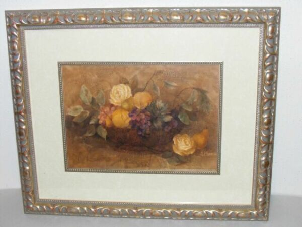 23x19 Framed Print Albena Hristova Bountiful Fruit Roses Composition In Blue For Sale Online Ebay