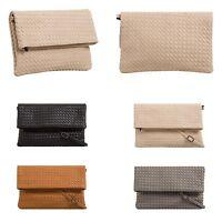 Ladies Designer Faux Shiny Thatched Fold Over Evening Clutch Bag Handbag T624