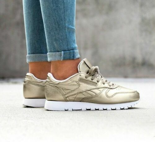 Reebok Classics Womens Leather Melted Metals Trainers Pewter gold All Sizes