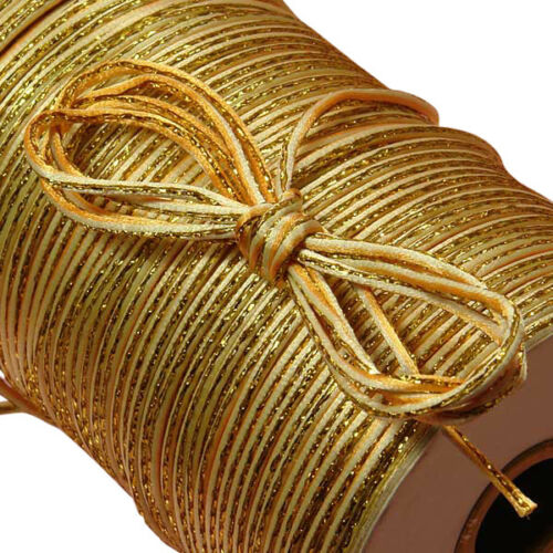 2 mm thick Metallic Rat-Tail Cord IVORY//GOLD color price for 10 yard