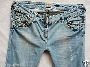 River Island Ladies Jeans Size 12 L SKINNY studs Slit knee light blue 32/33
