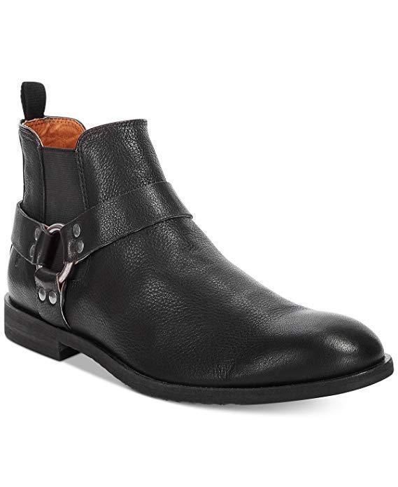 Frye Men's Scott Harness Chelsea Boots Black Leather 11.5 NEW IN BOX