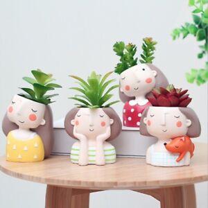 Ceramic Plant Pot Girl Succulent Flower Planter Bonsai Box Home Garden Vase Pots