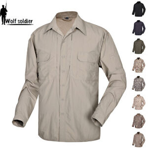 Mens Long Sleeve Casual Shirts Tactical Army Military Quickdry Combat Camouflage