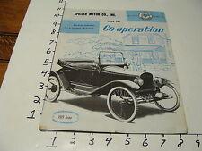 1956 Spiller Motor co, 8 page magazine 1915 argo car cover