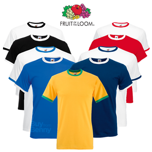 Fruit-Of-The-Loom-MEN-039-S-RINGER-T-SHIRT-CONTRAST-TWO-TONE-SHORT-SLEEVE-NECK-S-2XL