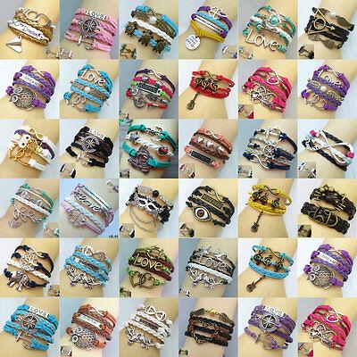 Fashion Boy's Or Girl's Cuff Friendship Woven Rope Charm Bangle Bracelets U Pick