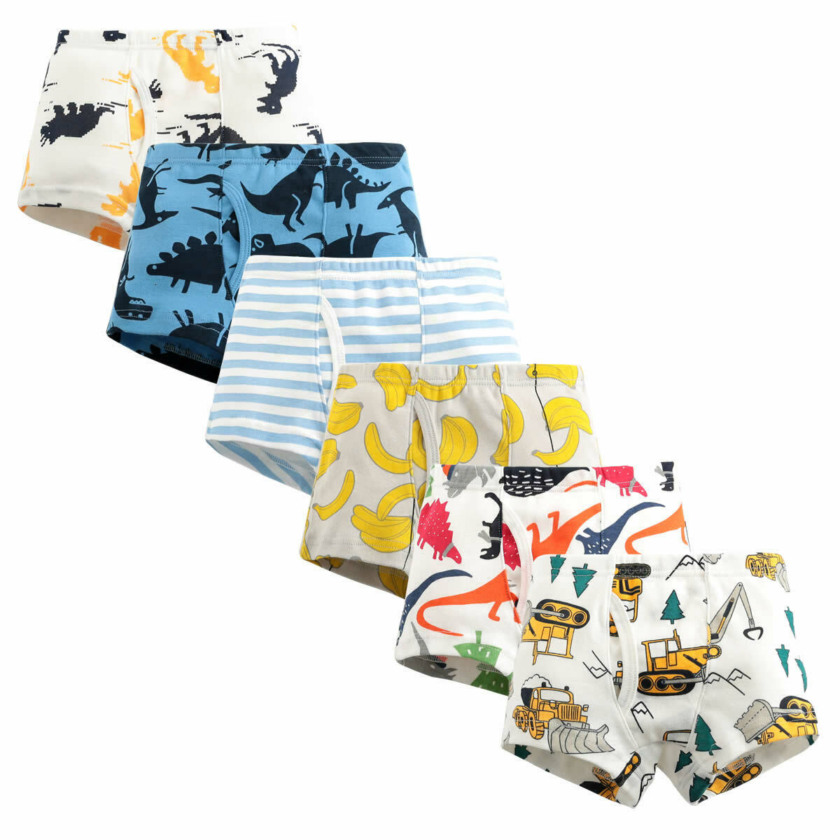 click2style Pack of 3 Kids Boys Boxer Shorts Soft Cotton Assorted Colour Striped /& Plain Brief Trunks Pants