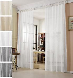 Gardinen-Stores-transparent-Leinen-Optik-Schlaufenschal-Vorhang-Schal-Voile-632