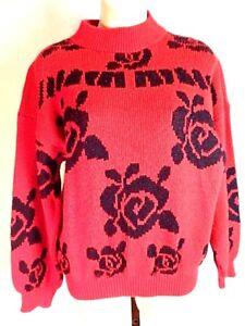 VINTAGE sweter red flowers