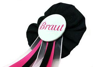 Orden-Braut-JGA-pink-schwarz-Deko-Anstecker-Button-Hochzeit-Bride-to-be