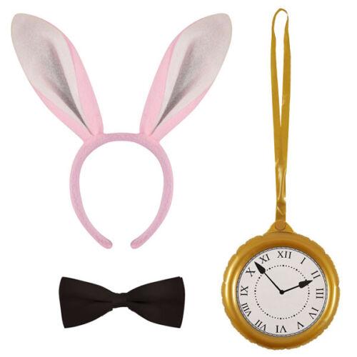 WHITE RABBIT EARS BOW TIE JUMBO CLOCK MEDALLION FANCY DRESS WORLD BOOK DAY WEEK