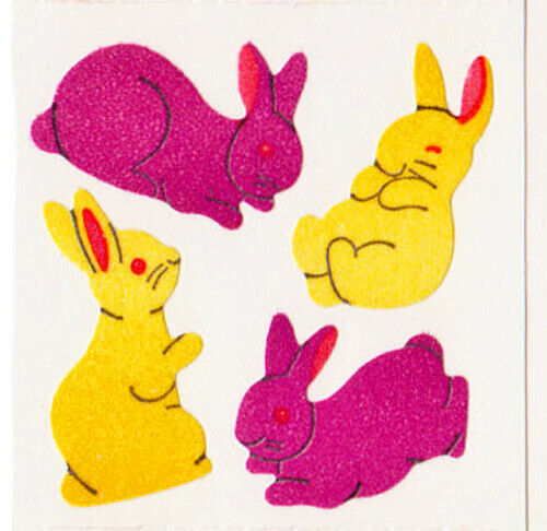 Vintage 80/'s Great Seven 7 FUZZY Easter Bunnies Rabbits Sticker Mod