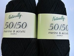 NATURALLY-50-50-MERINO-ACRYLIC-10-BALLS-BLACK-NO-600-50GR