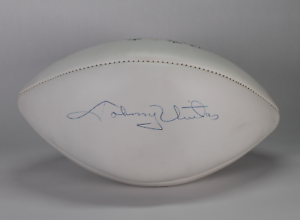 Johnny Unitas signed autographed football! RARE! Colts! AMCo Authenticated!