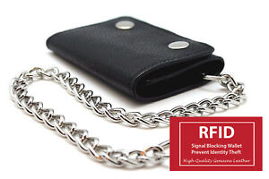 RFID-Blocking-Men-039-s-Genuine-Leather-Biker-039-s-Long-Metal-Chain-Wallet-Trucker