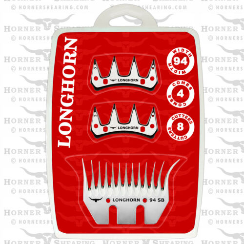 Heiniger,Supershear,Horner Longhorn Pack Of 4 Wide Combs /& 8 Cutters For Lister