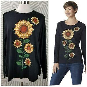 New-Sahalie-Saturday-Market-T-Shirt-Plus-size-2X-Knit-Top-Sunflower-Floral