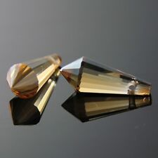 4 Pieces 8x20mm Swarovski cone-shape crystal beads E golden-Amber