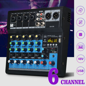 Professionell-6-Kanaele-pro-Studio-Audio-Mixer-Konsole-Heim-bluetooth-Dj-Tisch