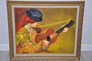 Reproduction / Tableau - Femme à la Guitare - Auguste RENOIR 1897 - Painting