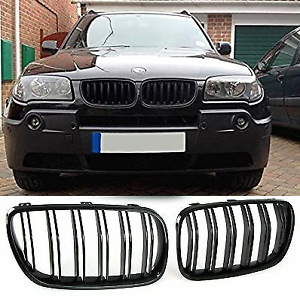 BMW-E83-X3-LCI-07-10-front-gloss-black-kidney-grille-grilles-grills-double-dual